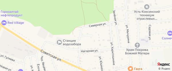Лесной переулок на карте села Усть-коксы Алтая с номерами домов