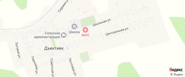 Центральная улица на карте села Дъектийка Алтая с номерами домов