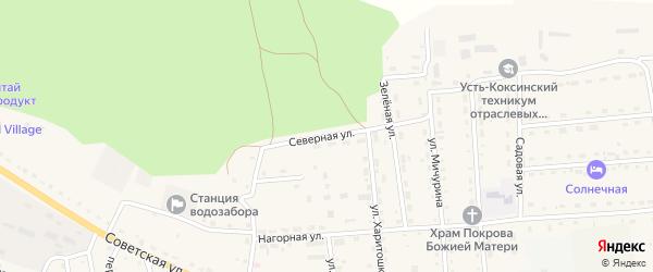 Северная улица на карте села Усть-коксы Алтая с номерами домов