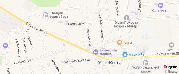 Улица Юшкина на карте села Усть-коксы Алтая с номерами домов