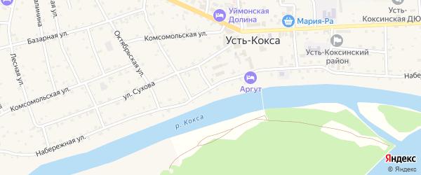 Набережная улица на карте села Усть-коксы Алтая с номерами домов