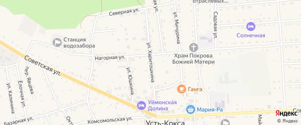 Улица Харитошкина на карте села Усть-коксы Алтая с номерами домов