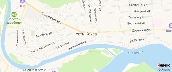 Карта села Усть-коксы в Алтае с улицами и номерами домов