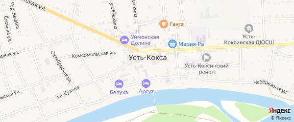 Зеленый переулок на карте села Усть-коксы Алтая с номерами домов