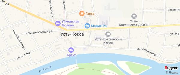 Почтовый переулок на карте села Усть-коксы Алтая с номерами домов