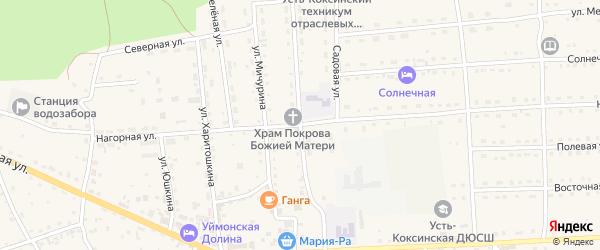 Ключевая улица на карте села Усть-коксы Алтая с номерами домов
