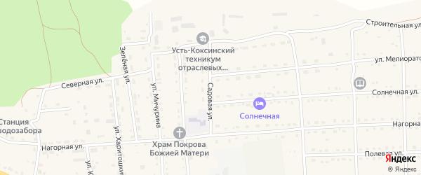 Садовая улица на карте села Усть-коксы Алтая с номерами домов