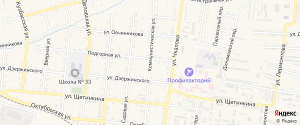 Коммунистическая улица на карте Тайги с номерами домов