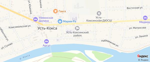 Школьный переулок на карте села Усть-коксы с номерами домов