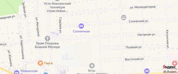 Нагорная улица на карте села Усть-коксы Алтая с номерами домов