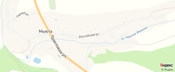 Российская улица на карте села Мыюта Алтая с номерами домов