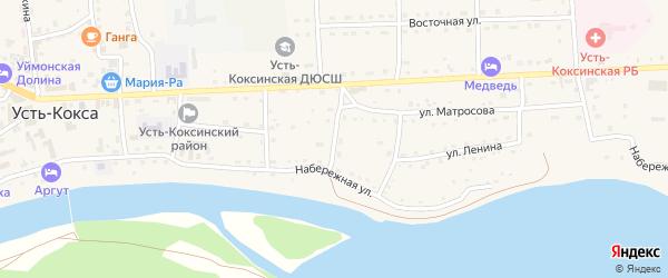Улица Краскова на карте села Усть-коксы Алтая с номерами домов