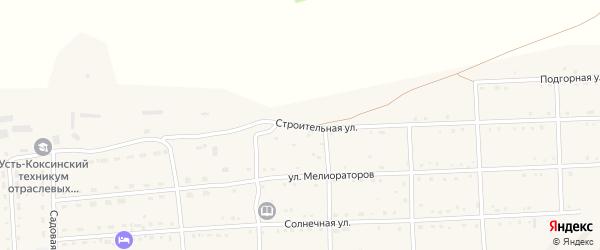 Строительная улица на карте села Усть-коксы Алтая с номерами домов