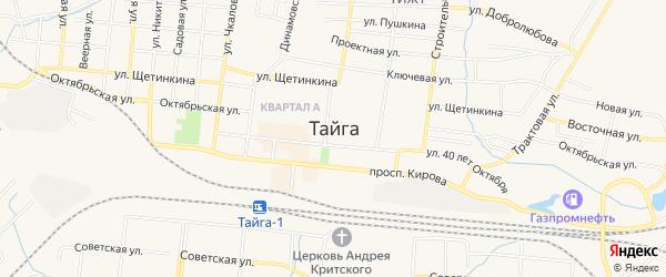 Карта разъезда Сураново города Тайги в Кемеровской области с улицами и номерами домов