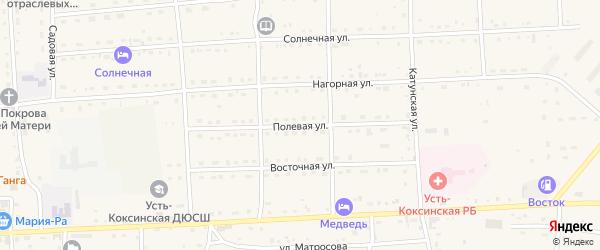 Полевая улица на карте села Усть-коксы Алтая с номерами домов