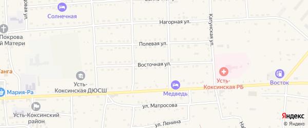 Восточная улица на карте села Усть-коксы Алтая с номерами домов