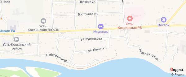Улица Матросова на карте села Усть-коксы Алтая с номерами домов