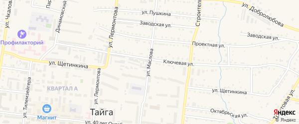 Улица Маслова на карте Тайги с номерами домов