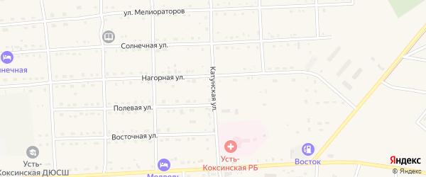 Катунская улица на карте села Усть-коксы с номерами домов