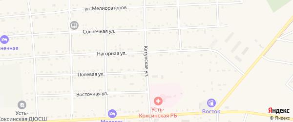 Катунская улица на карте села Усть-коксы Алтая с номерами домов