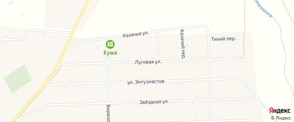 Луговая улица на карте села Усть-коксы Алтая с номерами домов