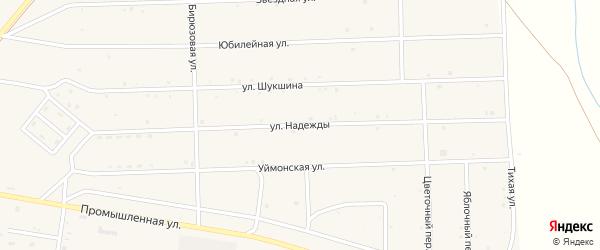 Улица Надежды на карте села Усть-коксы Алтая с номерами домов