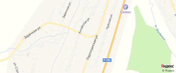 Совхозный переулок на карте села Шебалино Алтая с номерами домов