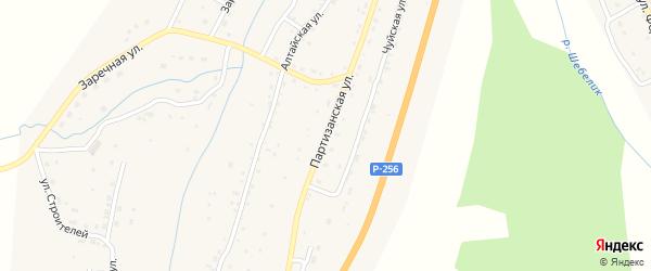 Партизанская улица на карте села Шебалино Алтая с номерами домов