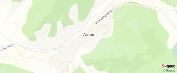 Карта села Актела в Алтае с улицами и номерами домов