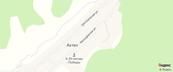 Молодежная улица на карте села Актела Алтая с номерами домов