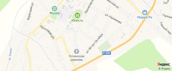 Колхозный переулок на карте села Шебалино Алтая с номерами домов