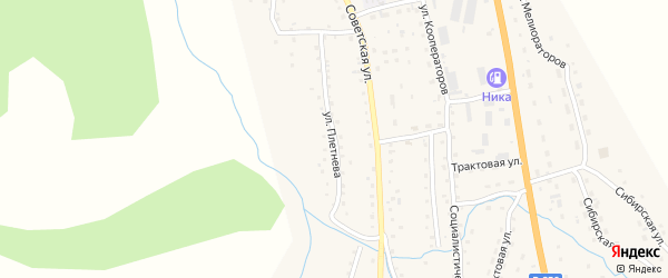 Улица Плетнева на карте села Шебалино Алтая с номерами домов