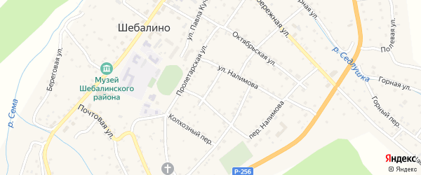 Заводской переулок на карте села Шебалино Алтая с номерами домов