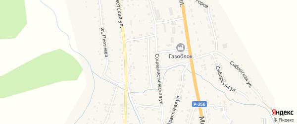 Социалистический переулок на карте села Шебалино Алтая с номерами домов