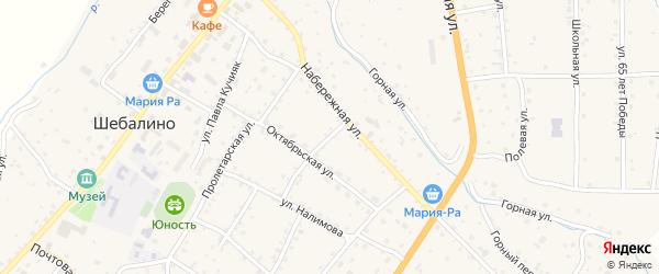 Октябрьский переулок на карте села Шебалино Алтая с номерами домов