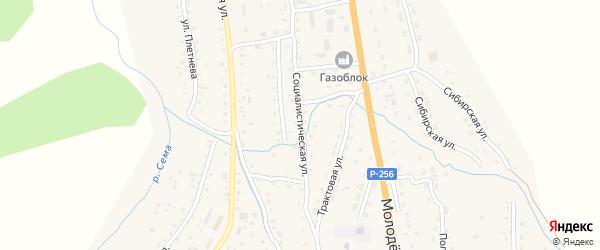 Социалистическая улица на карте села Шебалино Алтая с номерами домов