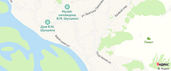 Почтовый переулок на карте села Сростки с номерами домов