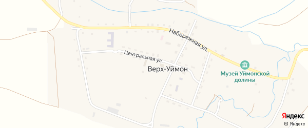 Подгорная улица на карте села Верха-Уймона Алтая с номерами домов
