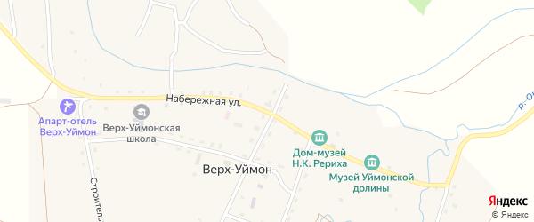 Набережная улица на карте села Верха-Уймона Алтая с номерами домов