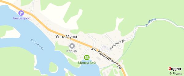 Садовый переулок на карте села Усть-Муны Алтая с номерами домов