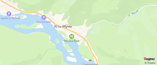 Карта села Усть-Муны в Алтае с улицами и номерами домов