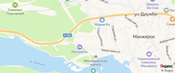 Сосновый переулок на карте села Манжерка Алтая с номерами домов