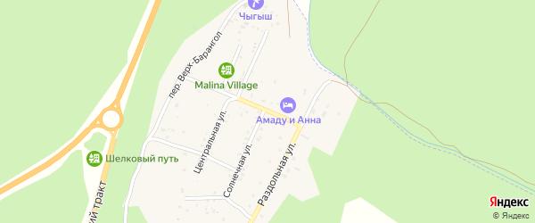 Рябиновый переулок на карте поселка Усть-семы Алтая с номерами домов