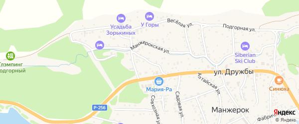 Переулок Дружбы на карте села Манжерка Алтая с номерами домов