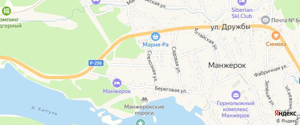 Совхозная улица на карте села Манжерка Алтая с номерами домов
