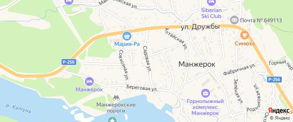 Садовая улица на карте села Манжерка Алтая с номерами домов