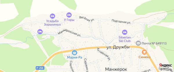 Манжерокская улица на карте села Манжерка Алтая с номерами домов