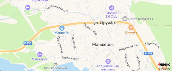 Молодежная улица на карте села Манжерка Алтая с номерами домов