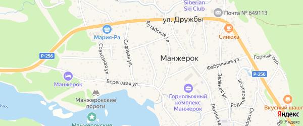 Молодежный переулок на карте села Манжерка Алтая с номерами домов