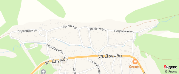 Цветочный переулок на карте села Манжерка Алтая с номерами домов